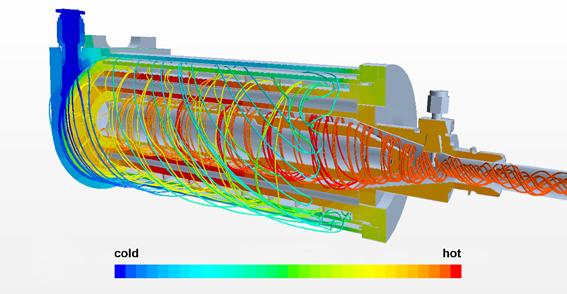 AIRTEC: Flujo de aire por rotación en un calentador: azul (izquierda) = frío / rojo (derecha) = caliente.