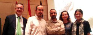 De derecha a izquierda Irene Carrascón (AENOR), Marta Salvador (PEFC), José Brotons (MAGRAMA), Miguel Angel Ena (Gobierno Aragón) y Alberto Romero (AEIM).
