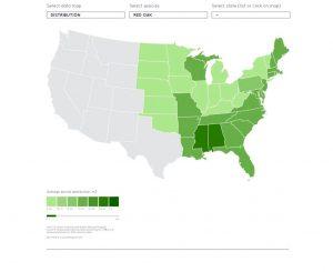 Herramienta cartográfica interactiva de AHEC en la que se muestra visualmente el crecimiento y la tal de cada frondosa estadounidense estado por estado.