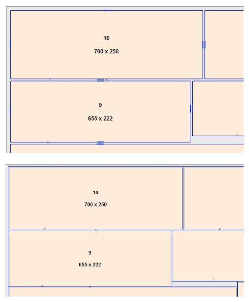 """ARRIBA: Las pestañas mantienen los componentes """"en su lugar"""", lo que significa que estas partes ya no se deslizan. Lo indican las marcas azules en el patrón de corte. ABAJO: Las partes adyacentes se pueden separar inmediatamente con una sola acción de recorte. El proceso más largo de recortar individualmente primero una y luego la otra parte ya no es necesario."""