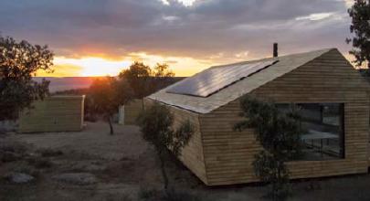 Edificio para punto de información del proyecto Ibarrola en Garoza