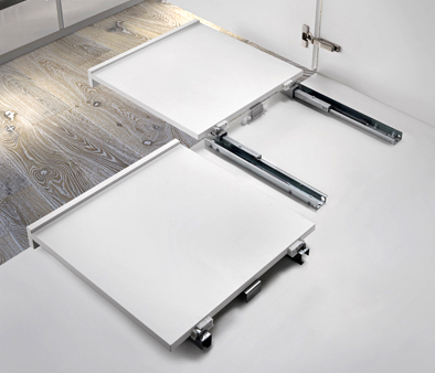 SHELF, la guía para estantes extraíble con tope de fijación a la abertura