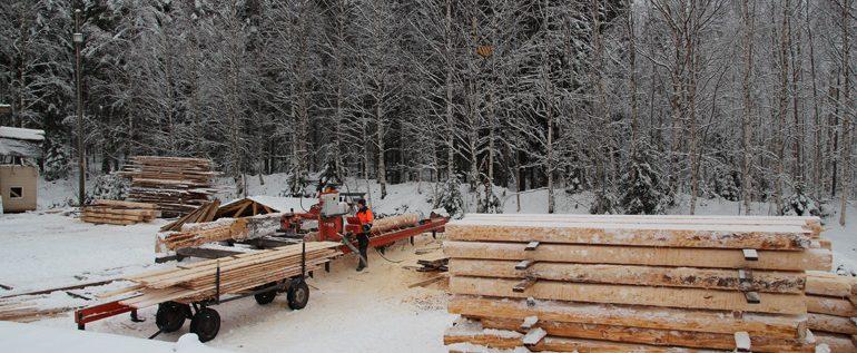 HIRSITYÖ fabrica con un aserradero WOOD-MIZER la estructura de una sauna de 200 metros cuadrados