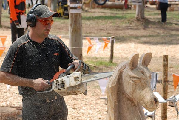El arte de la talla en madera con motosierra