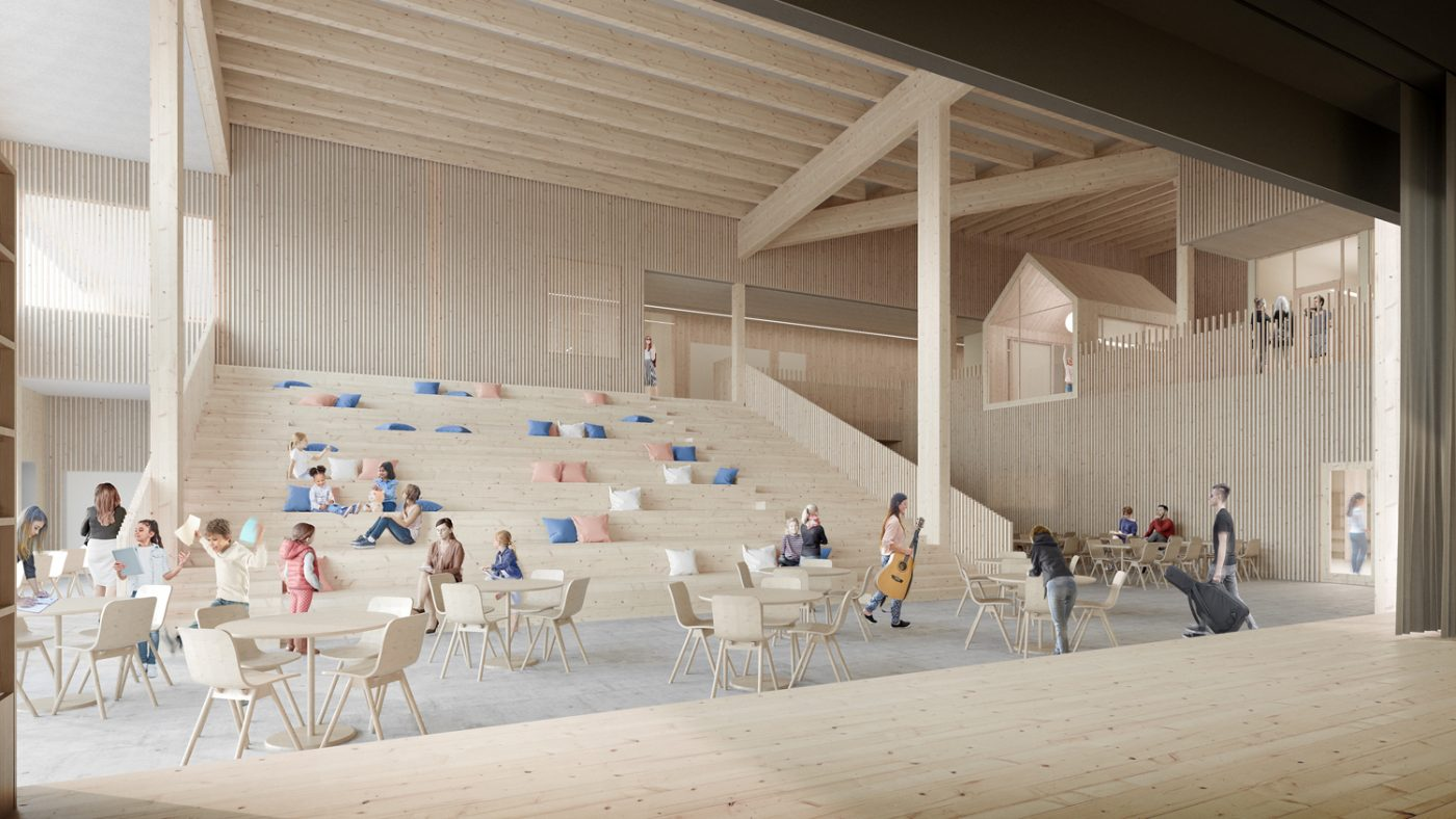 Una nueva escuela de madera toma forma en Helsinki