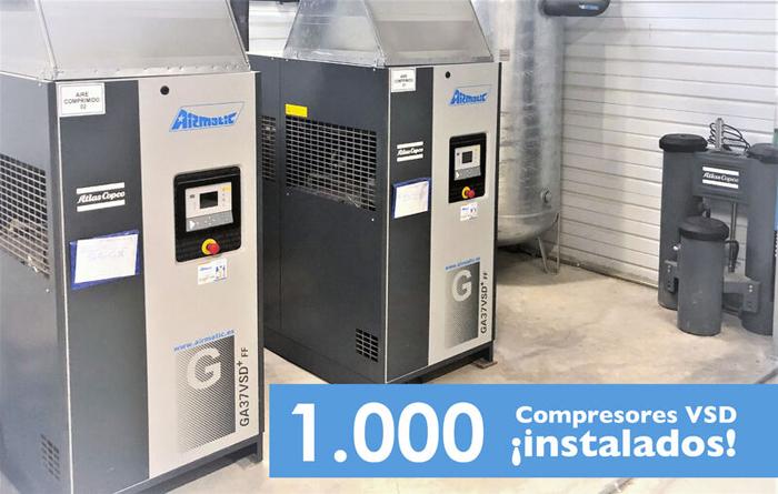 AIRMATIC alcanza la cifra de 1.000 compresores ATLAS COPCO VSD vendidos