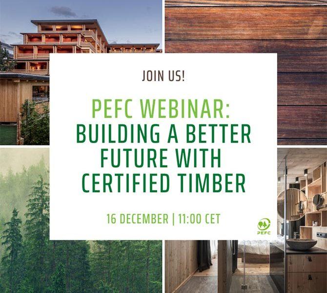 PEFC Internacional organiza el webinar «Diseñando el futuro con madera sostenible»