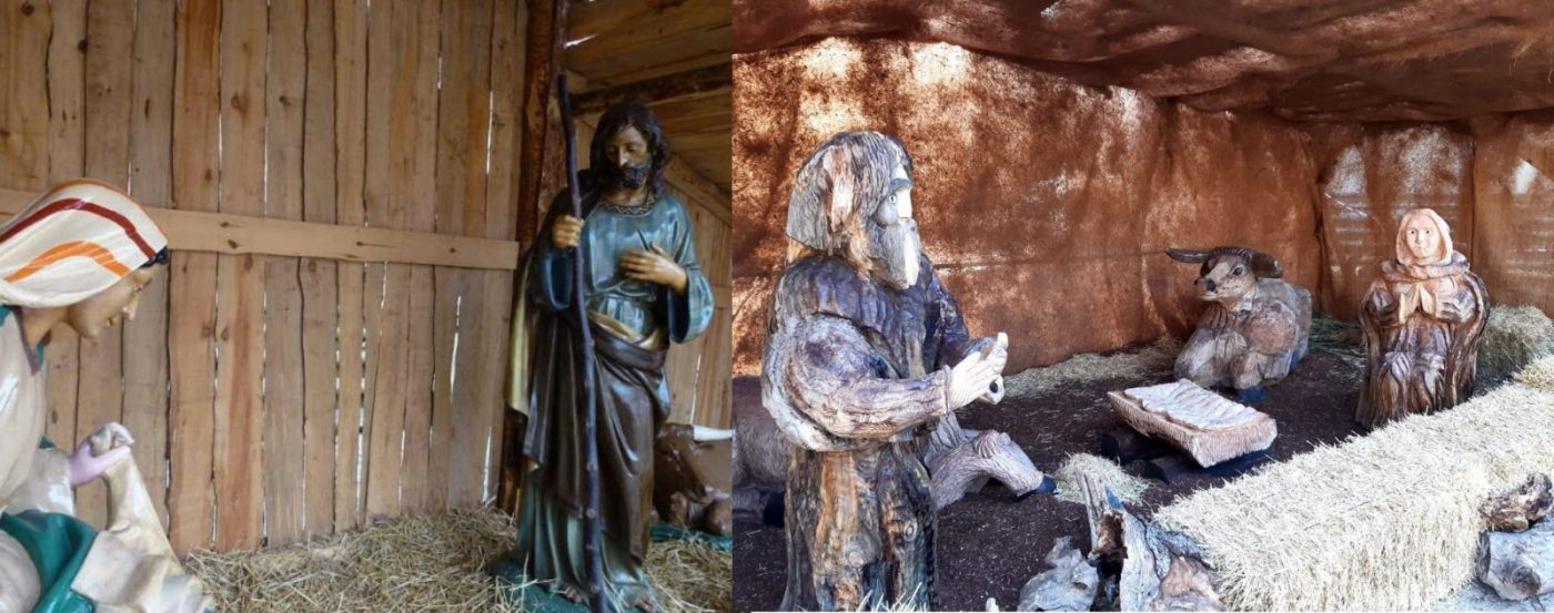 Soria luce un Belén de madera Pino Soria en la Plaza Mayor